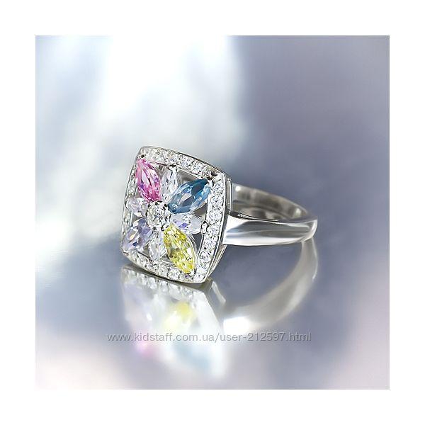 Серебряное кольцо с цветным цирконием р. 17. 5