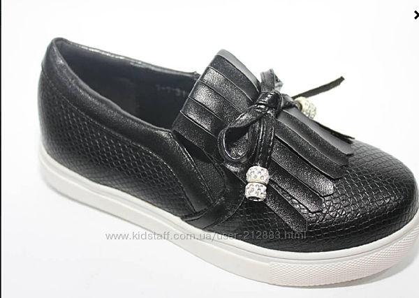 Слипоны, туфли, мокасины черные школьные для девочки.