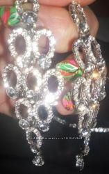 Блестящие большие серьги со сверкающими камнями бижутерия украшения сережки