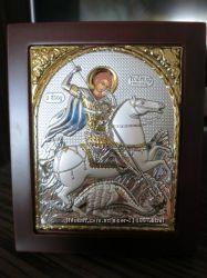 Икона Георгия Победоносца. Шелкография, оклад в серебре.
