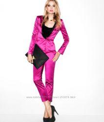 Розовый неон тренд этого сезона нарядные брючки H&M р. 42 и 44 европ
