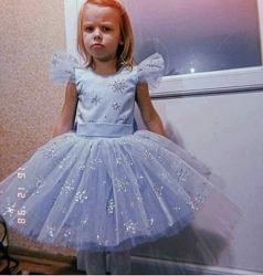 Нарядное новогоднее пышное детское платье снежинка большой выбор