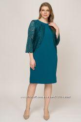 Женское платье большого размера нарядное с кружевом