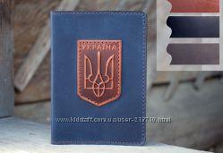 Мужская Обложка для паспорта Кожа Трезубец синяя черная коричневая