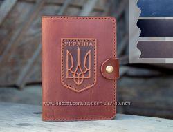 Обложка для автодокументов кожаная с гербом Украины Подарок Мужчине