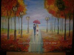 Картина маслом на холсте Нежная осень