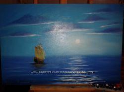 Картина маслом Лунная ночь, холст на подрамнике