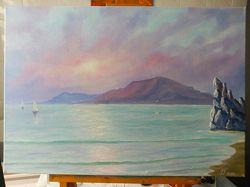 Картина масляными красками 50 на35 см Рассвет на море