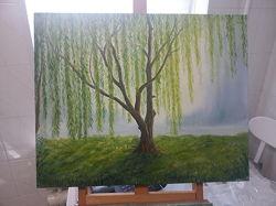 Картина масляными красками 50 на 40см Ива