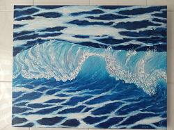 Картина масляными красками 50 на 40см Волна