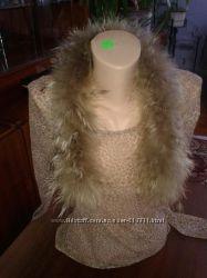 Меховая опушка на капюшон или воротник. Натуральный мех энот.