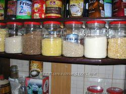 Стеклянные баночки емкости для хранения сыпучих продуктов