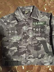 Куртка милитари, на флисе,  для мальчика 3-5 лет