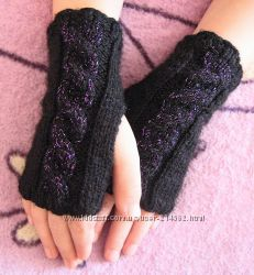 Перчатки митенки без пальцев для девочек