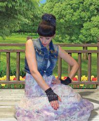 Перчатки - митенки и повязка на голову - модный комплект
