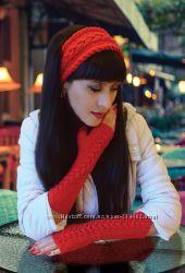 Набор Brilliance - митенки - перчатки и повязка на голову