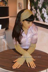 Комплект митенки - перчатки и повязка на голову - Эффектно и стильно