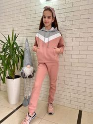 Детский теплый спортивный подростковый костюм КЛ-470 футер с начесом в расц