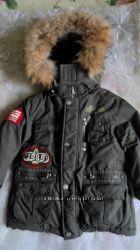 теплая куртка с опушкой из меха енота