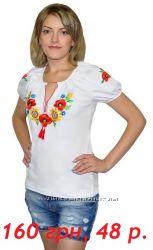 Вышиванка белая, с коротким рукавом, 48 размер
