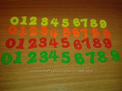 Цифры деревянные пуговицы