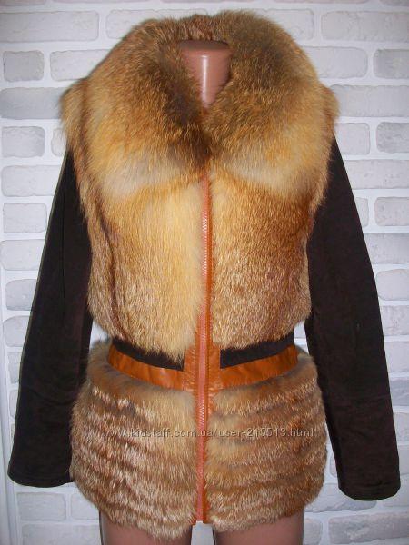 Жилет, жилетка, шубка, шуба, полушубок, куртка BELLA Лиса, кожа, замша Нова