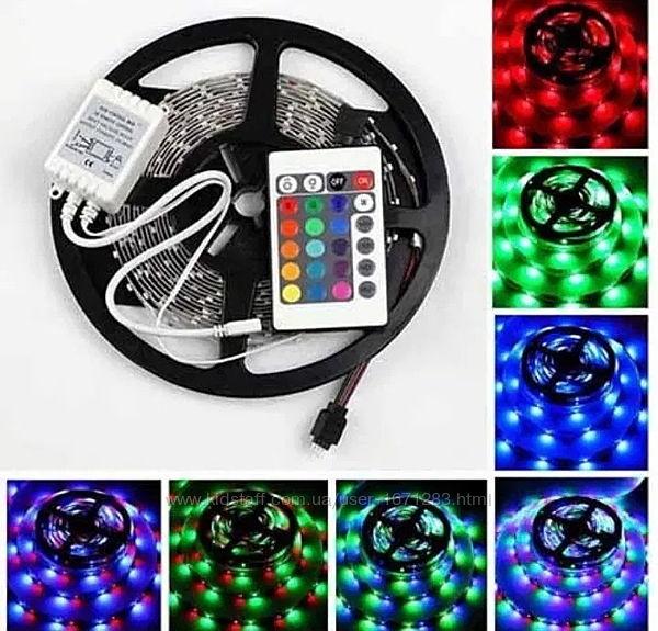 Светодиодная LED лента 5м RGB с пультом SMD 3528 влагозащищенная