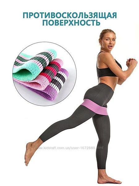 НАБОР Тканевых фитнес резинок , фитнес ленты 3 штуки без мешка для хранени