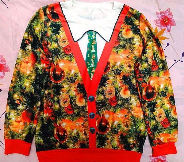 Новогодний свитшот с галстуком, размер L