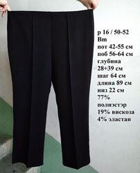 р 16 / 50-52 Стильные базовые офисные черные прямые укороченные 5/6 штаны