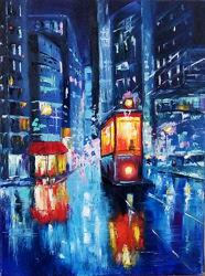 Картина Ночной трамвай, масло, 30 х 40 см