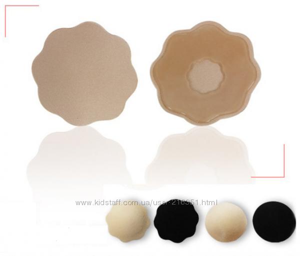 Многоразовые силиконовые наклейки на грудь стикини с тканевым покрытием.