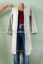 Стильный теплый удлиненный кардиган с рукавами воланами, расклешёнными рука