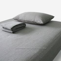 Серое льняное постельное белье, комплект постельного белья из льна