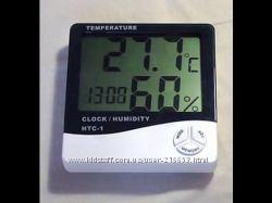 Цифровой термометр часы гигрометр LCD 3 в 1 HTC 1  БАТАРЕЙКИ