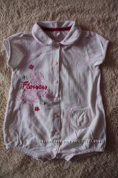 Ромпер-песочник девочке с вышивкой, размер 80 см.