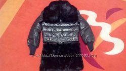 Пуховик куртка с капюшоном и юбкой из меха кролика