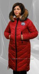 Зимнее стеганое пальто с опушкой с натурального меха