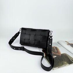 Женская кожаная сумка плетённая через плечо Polina & Eiterou жіноча шкіряна
