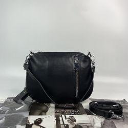 Женская кожаная сумка через плечо кросс-боди чёрная Polina & Eiterou жіноча