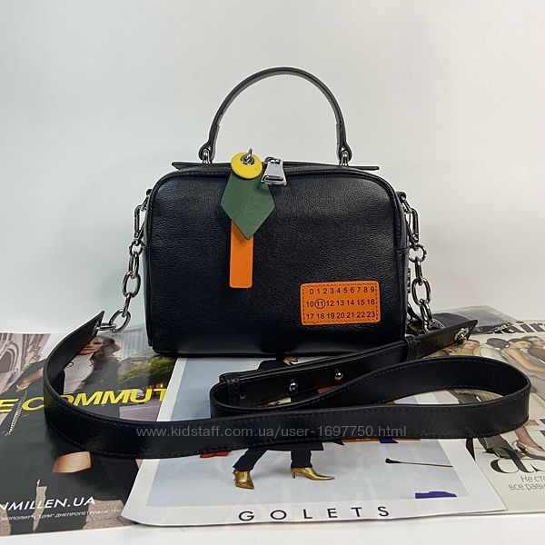 Женская кожана сумка через плечо чёрная Polina & Eiterou Полина сумочка
