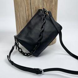 Женская кожаная сумка на через плечо чёрная Polina & Eiterou Полина