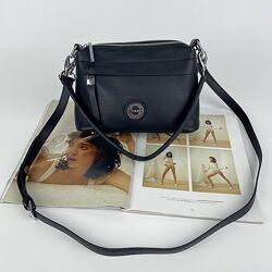 Женская кожаная сумка на через плечо Полина Polina & Eiterou чёрная сумочка