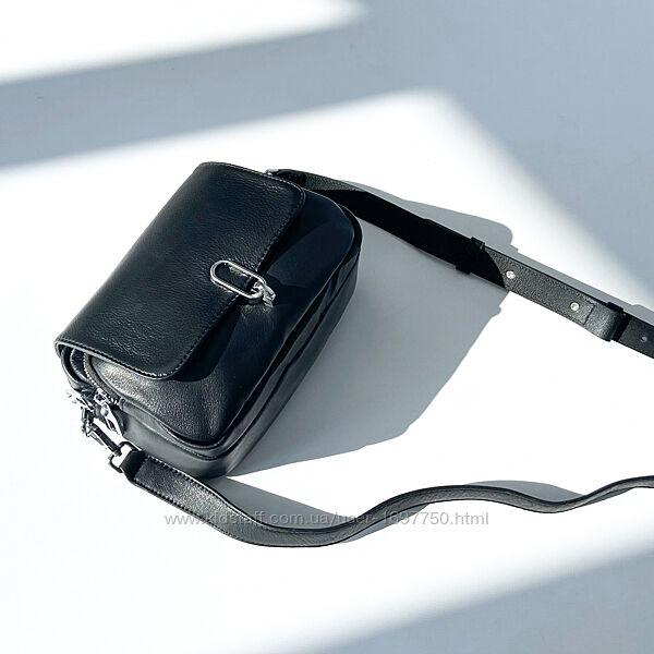 Женская кожаная сумка через плечо кросс-боди Полина чёрная Polina & Eiterou
