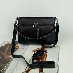 Женская кожаная сумка на и через плечо Polina & Eiterou Полина чёрная бордо