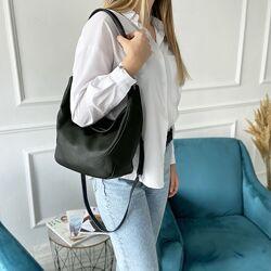 Женская кожаная сумка на через плечо Полина чёрная Polina & Eiterou