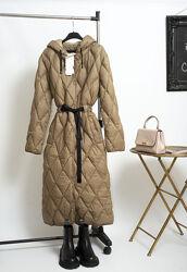Новое стеганое пуховое пальто миди длинный пуховик с капюшоном Zara