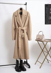 Новое осеннее шерстяное бежевое пальто миди с поясом / пальто-халат Zara