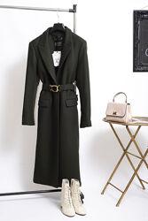 Премиум пальто zara / новое шерстяное пальто миди с поясом zara L XL