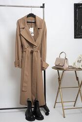 Шикарное новое двубортное шерстяное бежевое пальто миди с поясом Zara